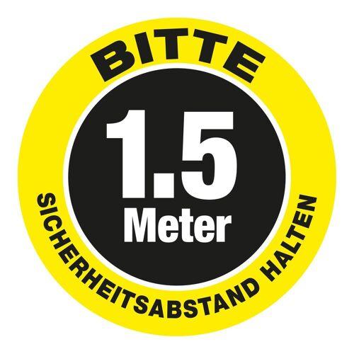 """VITAdisplays® Bodenschild als Wartepunkt """"Bitte 1.5 Meter Sicherheitsabstand halten"""" (30 x 30 cm) gelb"""