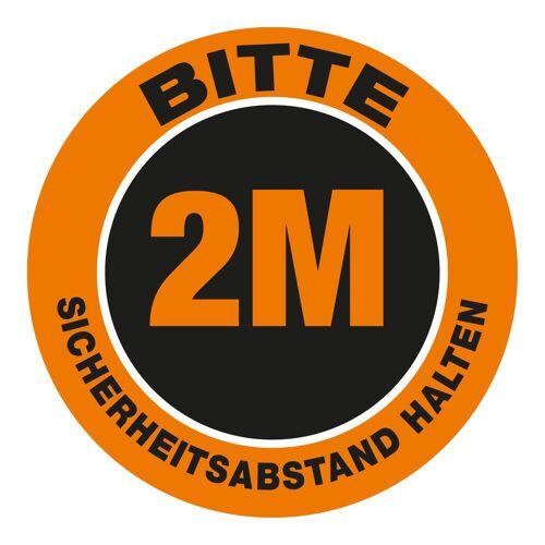 """VITAdisplays® Bodenschild als Wartepunkt """"Bitte 2.0 Meter Sicherheitsabstand halten"""" (30 x 30 cm) orange"""