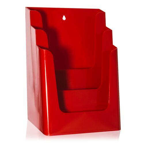 Nedco DIN A4 Tisch-Prospektständer als Tisch-Prospekthalter (3 Etg.) Rot