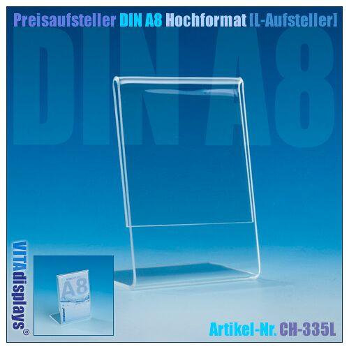 Deflecto Preisaufsteller DIN A8 Hochformat (L-Aufsteller)
