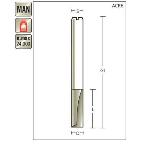 VHM Nutfräser D 12 x SL 25 x Schaft 12mm , Z=2 , für Plexiglas