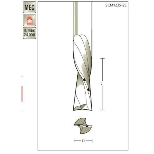 VHM-Schlichtfräser D 8 x SL 20 x Schaft 8mm , zweischneidig, Linksdrall