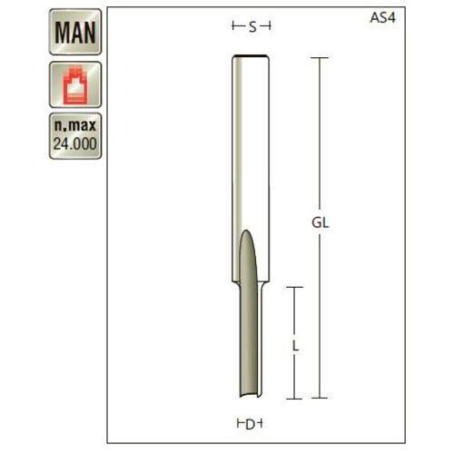 VHM Nutfräser D 4 x SL 12 x Schaft 6mm , Z=1 , für Kunststoffbearbeitung