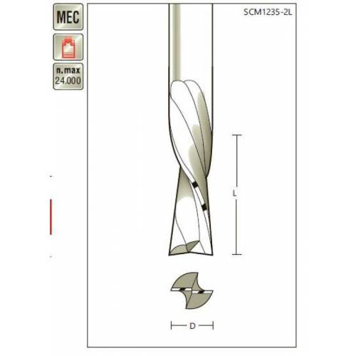 VHM-Schlichtfräser D 8 x SL 32 x Schaft 8mm , zweischneidig, Linksdrall