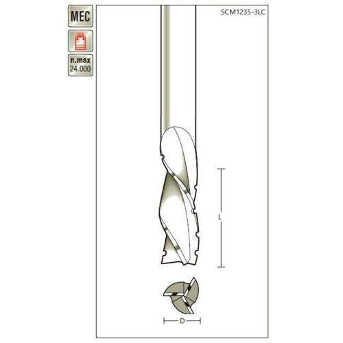 VHM-Schruppfräser D 12 x SL 35 x Schaft 12mm , dreischneidig, Linksdrall