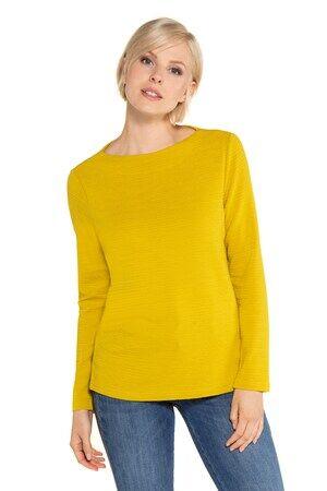 Gina Laura Damen  Sweatshirt, Querrippen, U-Boot-Ausschnitt, angarm, senfgelb, Viskose/Polyester/Elasthan