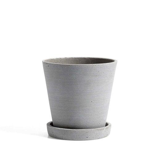 HAY - Blumentopf mit Untersetzer M, grau