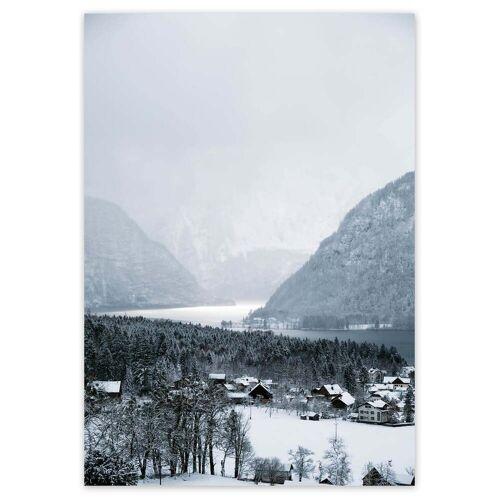 artvoll - Winter Village Poster, 50 x 70 cm