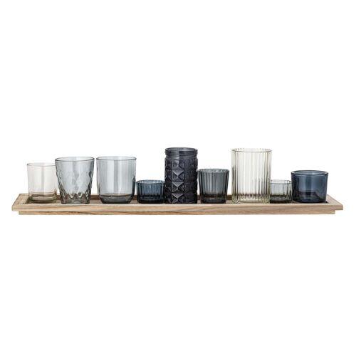 Bloomingville - Teelichthalter Set, blau (10-tlg.)