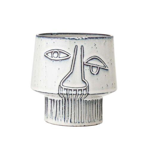 Bloomingville - Steingut Übertopf mit Gesicht, Ø 15 x H 14,5 cm, grau