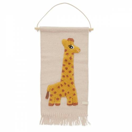 OYOY - Kinder-Wandteppich mit Tiermotiv, Giraffe / rose