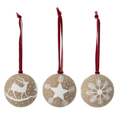 Bloomingville - Weihnachtsornamente Ø 7,5, cm (3er-Set), braun / weiß