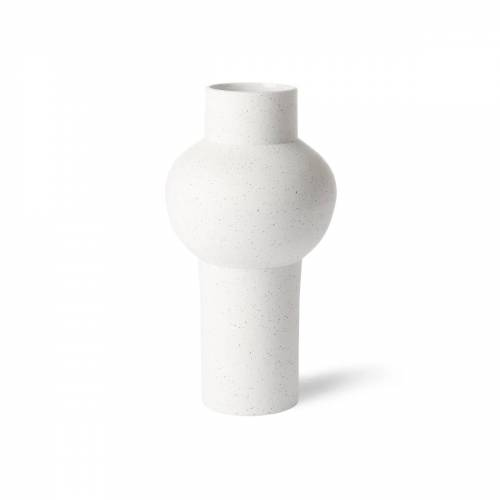 HKliving - Speckled Clay Vase round, M, Ø 15 x 30,5 H cm, weiß