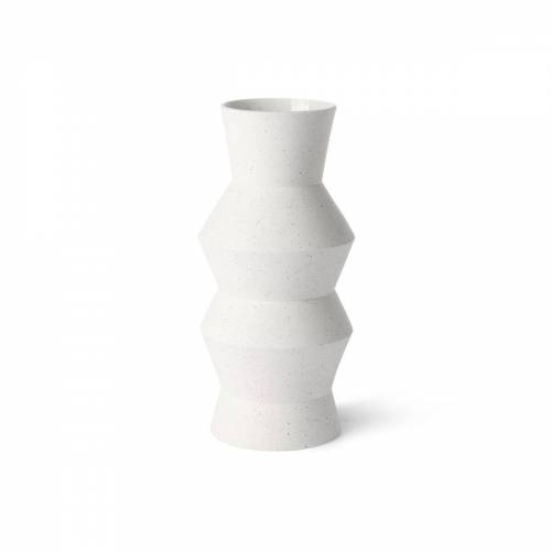 HKliving - Speckled Clay Vase angular, M, Ø 13,5 x 29,5 H cm, weiß