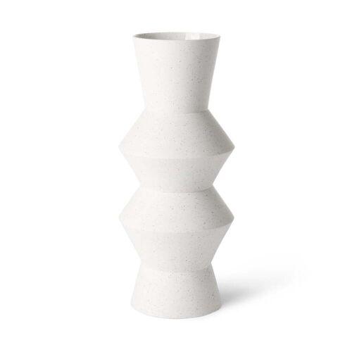 HKliving - Speckled Clay Vase angular, L, Ø 16,5 x 41 H cm, weiß