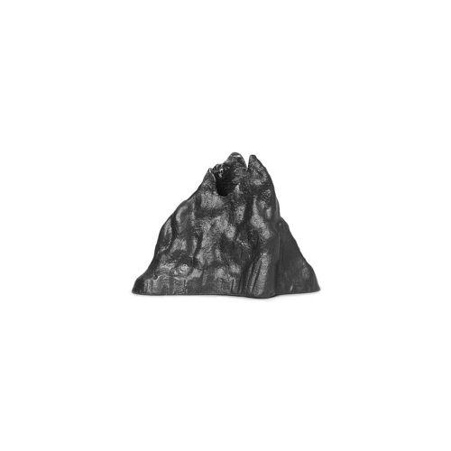 ferm LIVING - Stone Kerzenhalter large, Aluminium schwarz