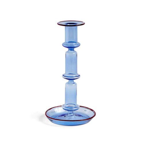 HAY - Flare Kerzenständer, H 21 cm, hellblau / rot