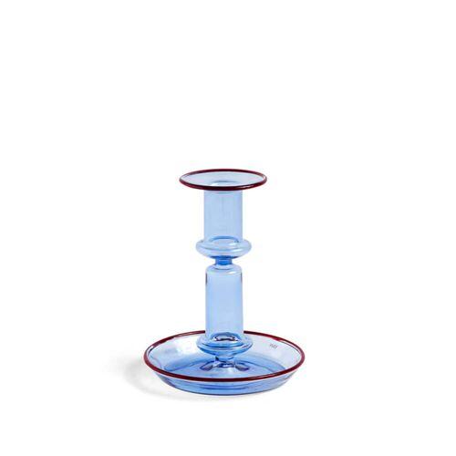 HAY - Flare Kerzenständer, H 14 cm, hellblau / rot