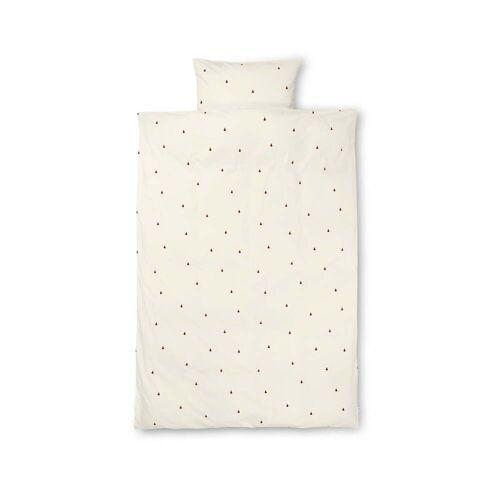 ferm LIVING - Birne Kinderbettwäsche, 100 x 140 cm, off-white / zimtrot