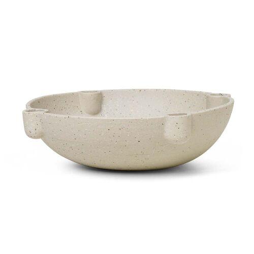 ferm LIVING - Bowl Keramik Kerzenständer, Ø 27 x H 6,8 cm, hellgrau