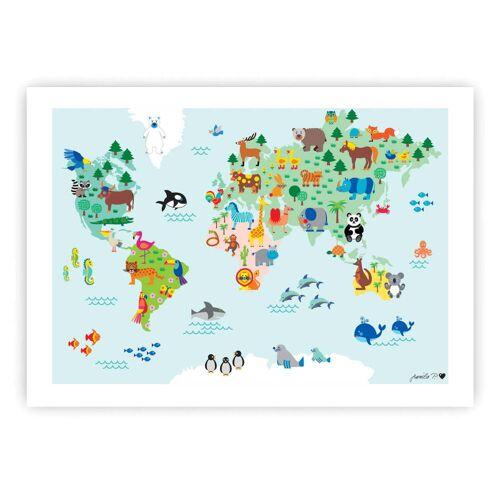 byGraziela - Tier-Weltkarte Poster, 50 x 70 cm