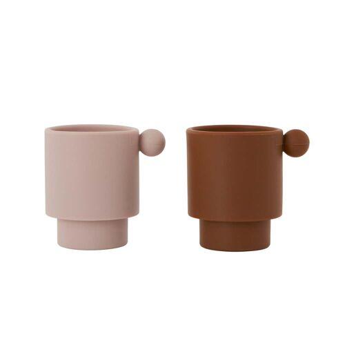 OYOY - Tiny Inka Silikon Becher, rosa / caramel (2er-Set)