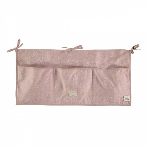 Nobodinoz - Merlin Babybett Utensilo, 60 x 30 cm, white bubble / misty pink