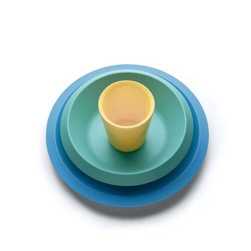 Alessi - Giro Kids Kindergeschirr S2, blau / grün / gelb (3-tlg.)