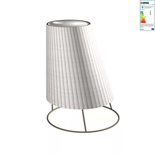 Emu - Cone Akku LED-Leuchte, big H 60 cm, Cortenstahl weiß / Plissé