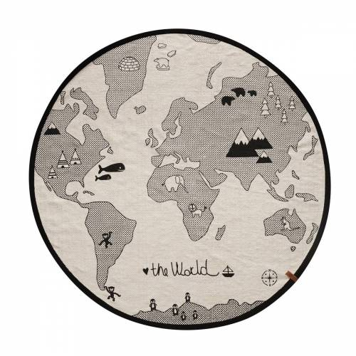 OYOY - The World Spielteppich Ø 135 cm, schwarz / grau