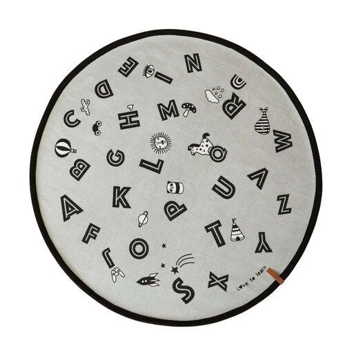 OYOY - Alphabet Spielteppich Ø 120 cm, grau