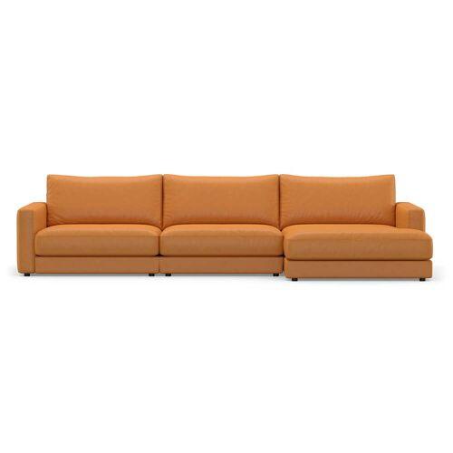 Sit with us - Leder-Ecksofa Panama, 326 cm breit, Recamiere links, hellbraun