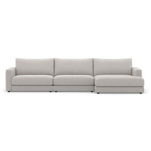 Sit with us - Ecksofa Panama, 326 cm breit, Recamiere rechts, Stoff Fino, beige