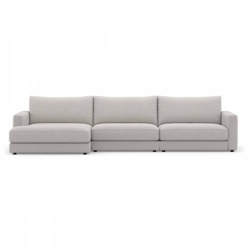 Sit with us - Ecksofa Panama, 326 cm breit, Recamiere links, Stoff Fino, beige