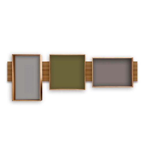 We Do Wood - SJ Bookcase Midi, olive / cool grey / dark grey