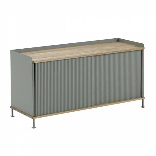 Muuto - Enfold Sideboard niedrig, Eiche / dusty green