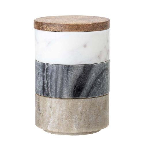 Bloomingville - Marmor Aufbewahrungsdosen 3 tlg., multi-color