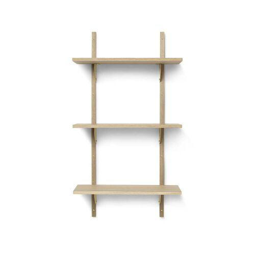 ferm LIVING - Sector Wandregal triple, 54 cm, Eiche / Messing