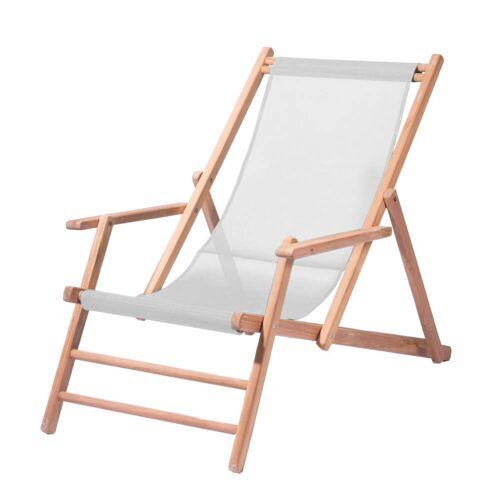 Jan Kurtz - Maxx Deckchair Teakholz, Bezug Kunststoffgewebe weiß