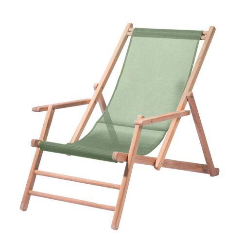 Jan Kurtz - Maxx Deckchair Teakholz, Bezug Kunststoffgewebe salbei