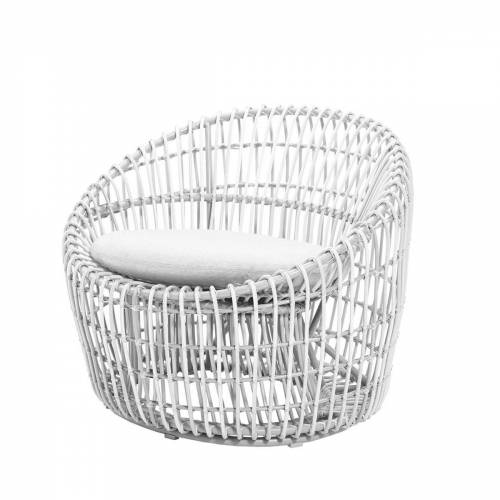 Cane-line - Nest Round Sessel Outdoor, weiß / weiß
