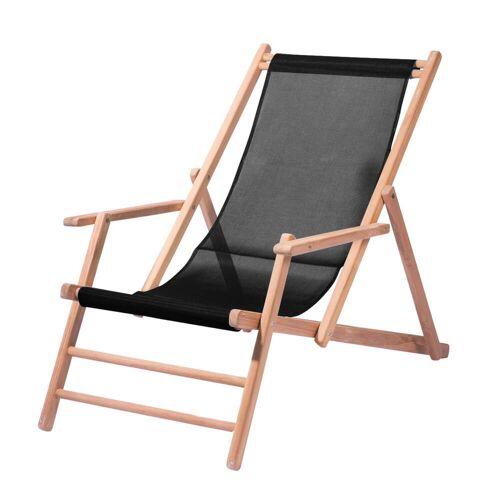 Jan Kurtz - Maxx Deckchair Teakholz, Bezug Kunststoffgewebe schwarz
