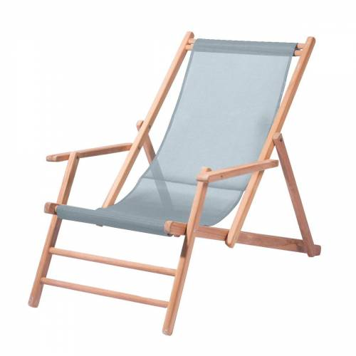 Jan Kurtz - Maxx Deckchair Teakholz, Bezug Kunststoffgewebe meerblau
