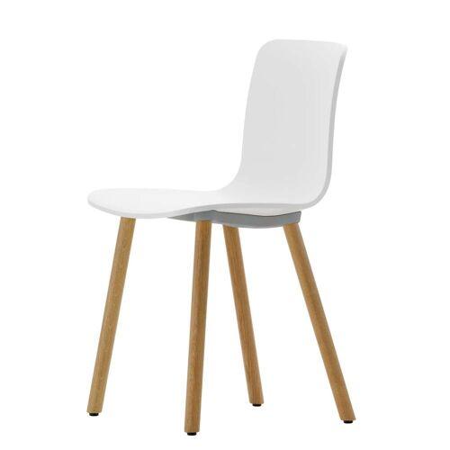 Vitra - Hal Wood Stuhl, weiß / Eiche hell / Kunststoffgleiter