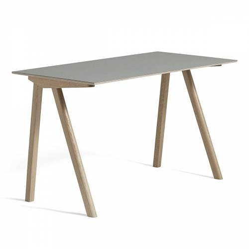 HAY - Copenhague CPH90 Schreibtisch 130 x 65 cm, Eiche geseift / Linoleum grey