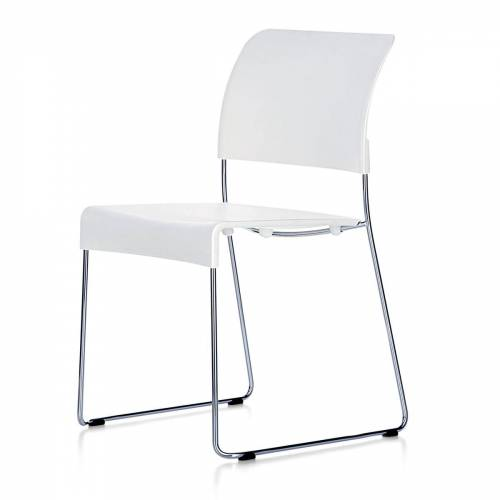 Vitra - Sim Stuhl, weiß, Kunststoffgleiter