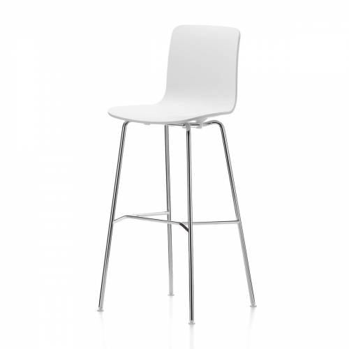 Vitra - Hal Barhocker, hoch, weiß / chrom / Kunststoffgleiter
