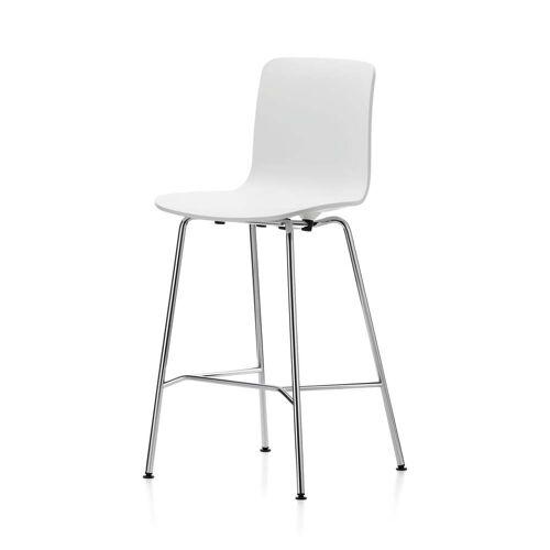 Vitra - Hal Barhocker, medium, weiß / chrom / Kunststoffgleiter