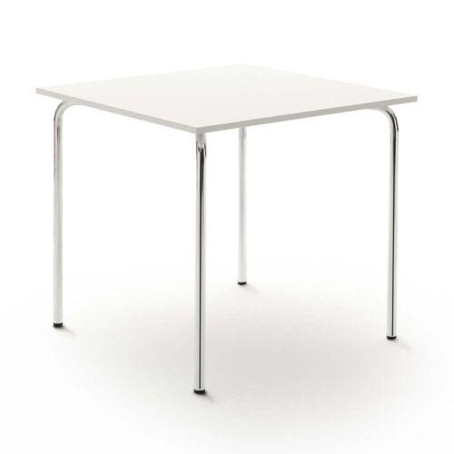 Flötotto - Pro Campus Tisch 80 x 80 cm, weiß / chrom, Kunststoffgleiter