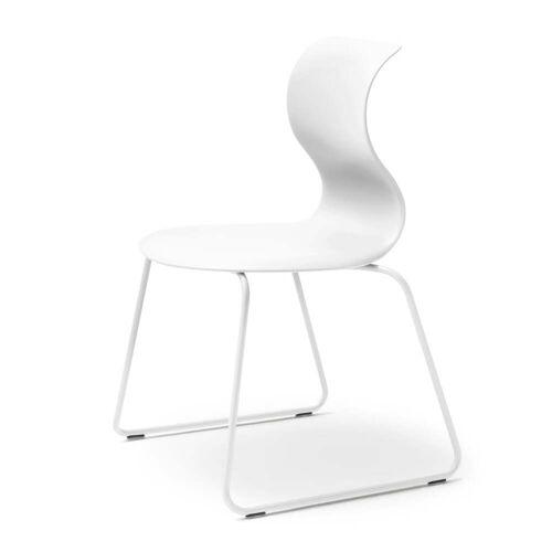 Flötotto - Pro 6 Stuhl, Gleitkufengestell schneeweiß, Sitzschale schneeweiß